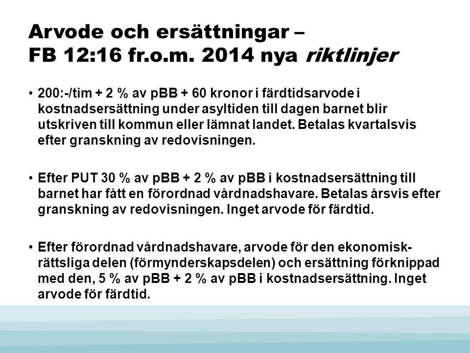 Arvode och ersättningar – FB 12:16 fr.o.m. 2014 nya riktlinjer •200:-/tim + 2 % av pBB + 60 kronor i färdtidsarvode i kostnadsersättning under asyltid