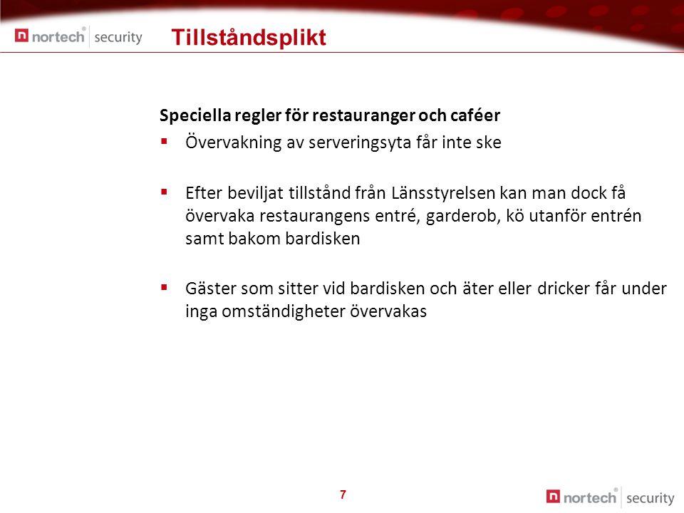 Tillståndsplikt 7 Speciella regler för restauranger och caféer  Övervakning av serveringsyta får inte ske  Efter beviljat tillstånd från Länsstyrels