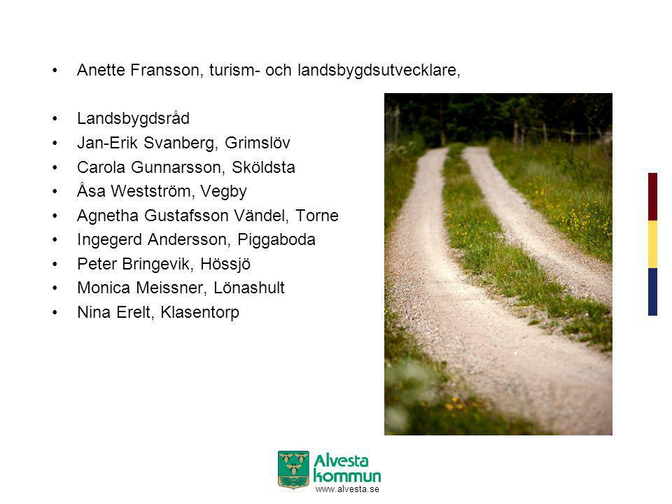www.alvesta.se •Anette Fransson, turism- och landsbygdsutvecklare, •Landsbygdsråd •Jan-Erik Svanberg, Grimslöv •Carola Gunnarsson, Sköldsta •Åsa Wests
