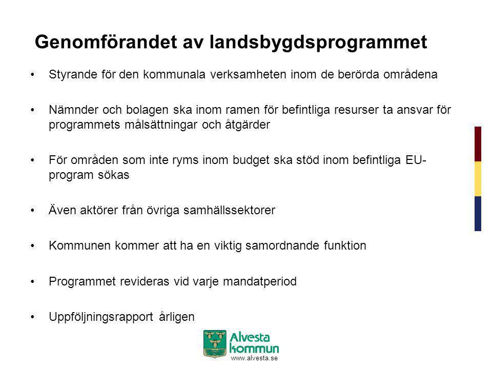 www.alvesta.se Genomförandet av landsbygdsprogrammet •Styrande för den kommunala verksamheten inom de berörda områdena •Nämnder och bolagen ska inom r