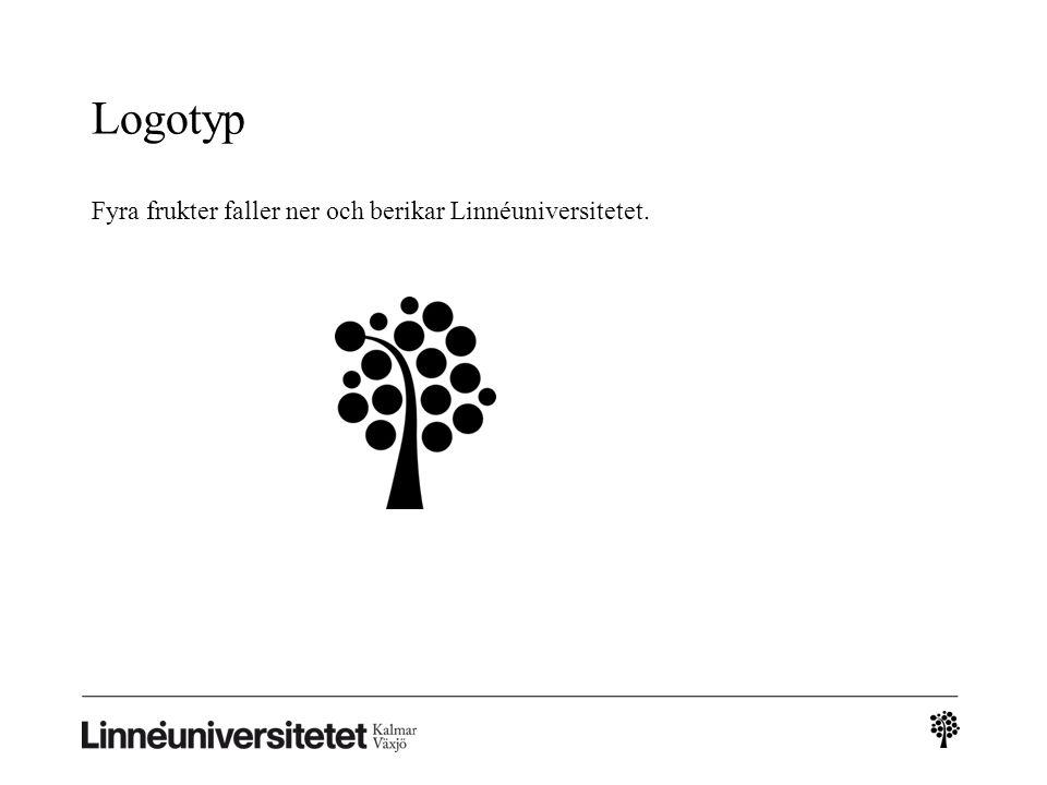 Logotyp Fyra frukter faller ner och berikar Linnéuniversitetet.