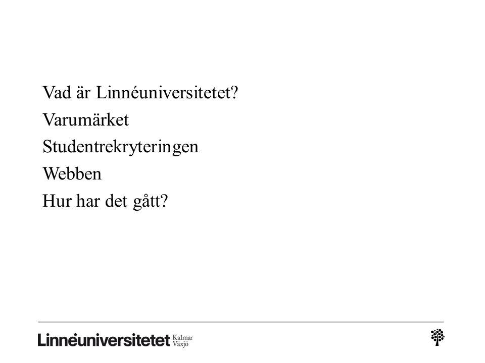 Webbtänket • Det enda alternativet - Ni ska synas på Lnu.se • Hårt styrd webb, avvikelser ej möjliga i början.