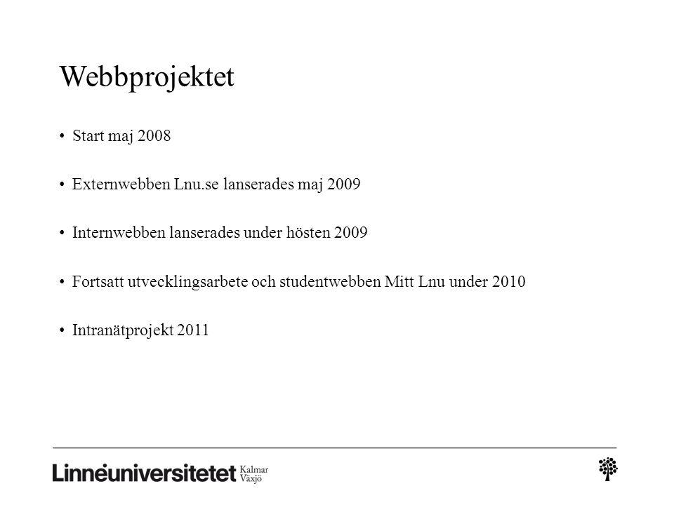 Webbprojektet • Start maj 2008 • Externwebben Lnu.se lanserades maj 2009 • Internwebben lanserades under hösten 2009 • Fortsatt utvecklingsarbete och