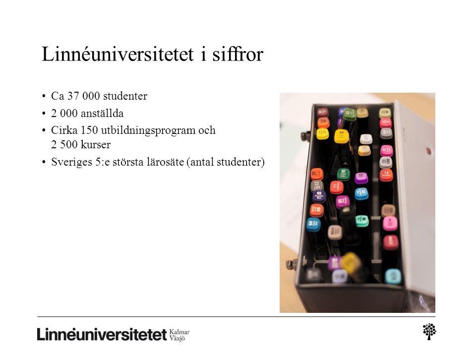 Linnéuniversitetet i Kalmar och Växjö Kalmar •Universitetet mitt i staden •Naturvetenskap starkt forskningsområde Växjö • Universitetscampus • Humaniora och samhällsvetenskap starka forskningsområden