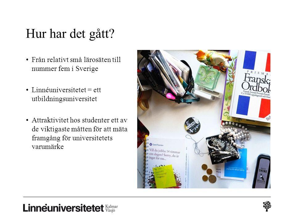Hur har det gått? • Från relativt små lärosäten till nummer fem i Sverige • Linnéuniversitetet = ett utbildningsuniversitet • Attraktivitet hos studen