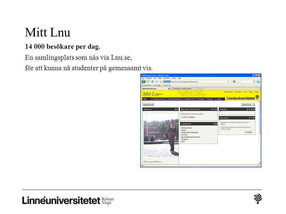 Mitt Lnu 14 000 besökare per dag. En samlingsplats som nås via Lnu.se, för att kunna nå studenter på gemensamt vis.
