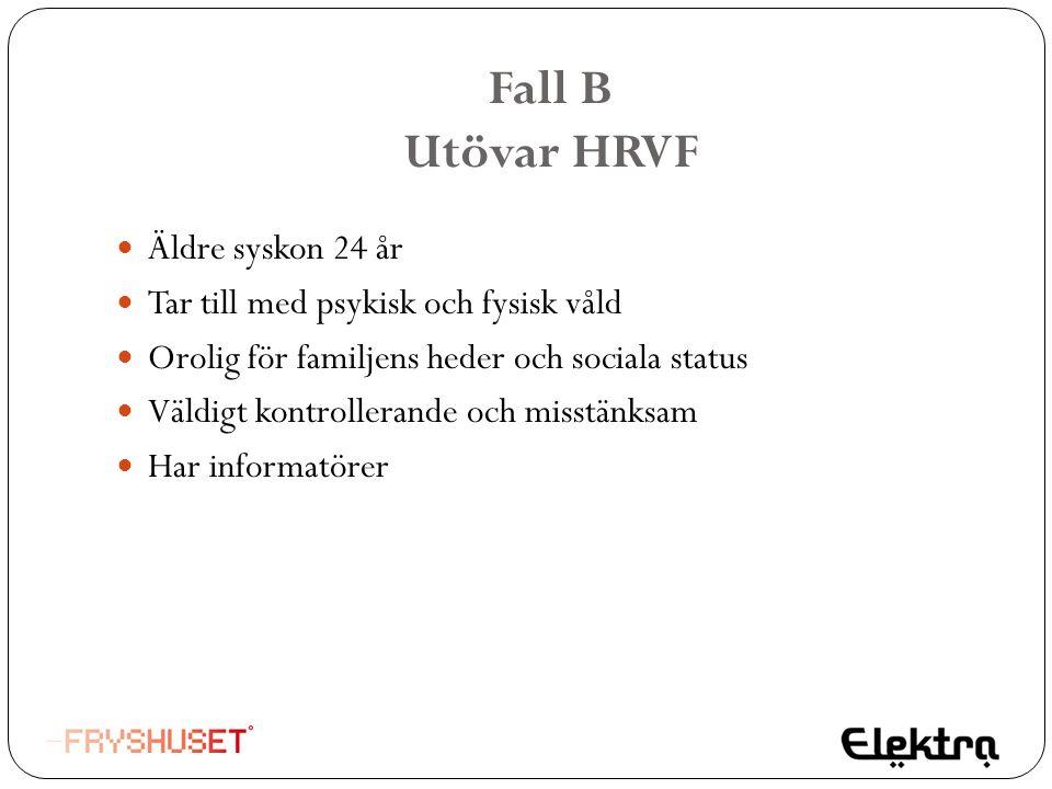 Fall B Utövar HRVF  Äldre syskon 24 år  Tar till med psykisk och fysisk våld  Orolig för familjens heder och sociala status  Väldigt kontrollerand