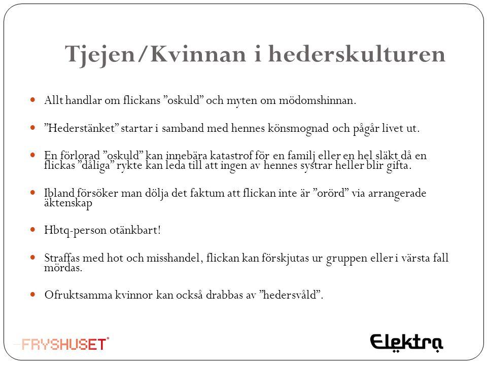 """Tjejen/Kvinnan i hederskulturen  Allt handlar om flickans """"oskuld"""" och myten om mödomshinnan.  """"Hederstänket"""" startar i samband med hennes könsmogna"""