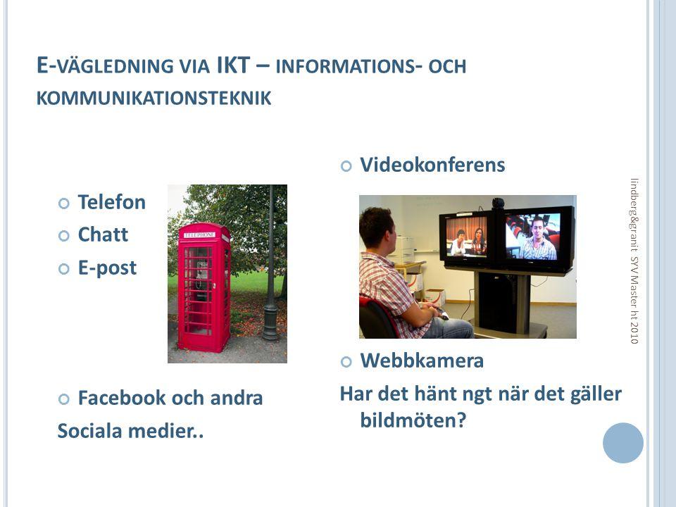 E- VÄGLEDNING VIA IKT – INFORMATIONS - OCH KOMMUNIKATIONSTEKNIK Telefon Chatt E-post Facebook och andra Sociala medier.. Videokonferens Webbkamera Har