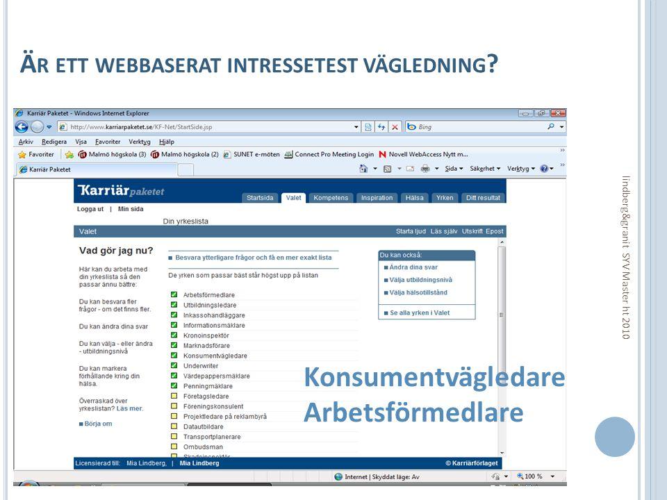 Ä R ETT WEBBASERAT INTRESSETEST VÄGLEDNING ? lindberg&granit SYV Master ht 2010 Konsumentvägledare Arbetsförmedlare