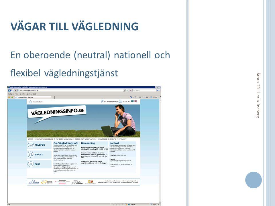 VÄGAR TILL VÄGLEDNING En oberoende (neutral) nationell och flexibel vägledningstjänst Århus 2011 mia lindberg