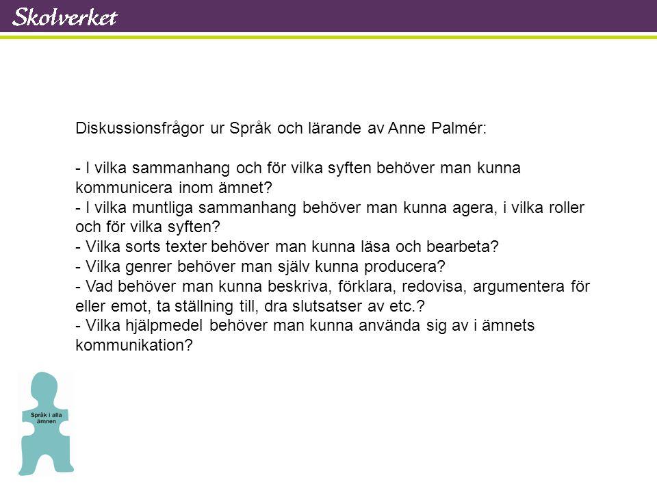 Diskussionsfrågor ur Språk och lärande av Anne Palmér: - I vilka sammanhang och för vilka syften behöver man kunna kommunicera inom ämnet? - I vilka m