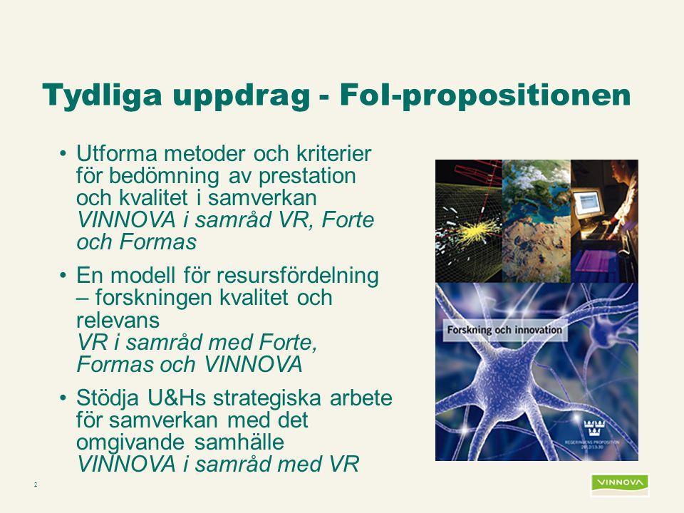 Infogad sidfot, datum och sidnummer syns bara i utskrift (infoga genom fliken Infoga -> Sidhuvud/sidfot) 2 Tydliga uppdrag - FoI-propositionen •Utforma metoder och kriterier för bedömning av prestation och kvalitet i samverkan VINNOVA i samråd VR, Forte och Formas •En modell för resursfördelning – forskningen kvalitet och relevans VR i samråd med Forte, Formas och VINNOVA •Stödja U&Hs strategiska arbete för samverkan med det omgivande samhälle VINNOVA i samråd med VR