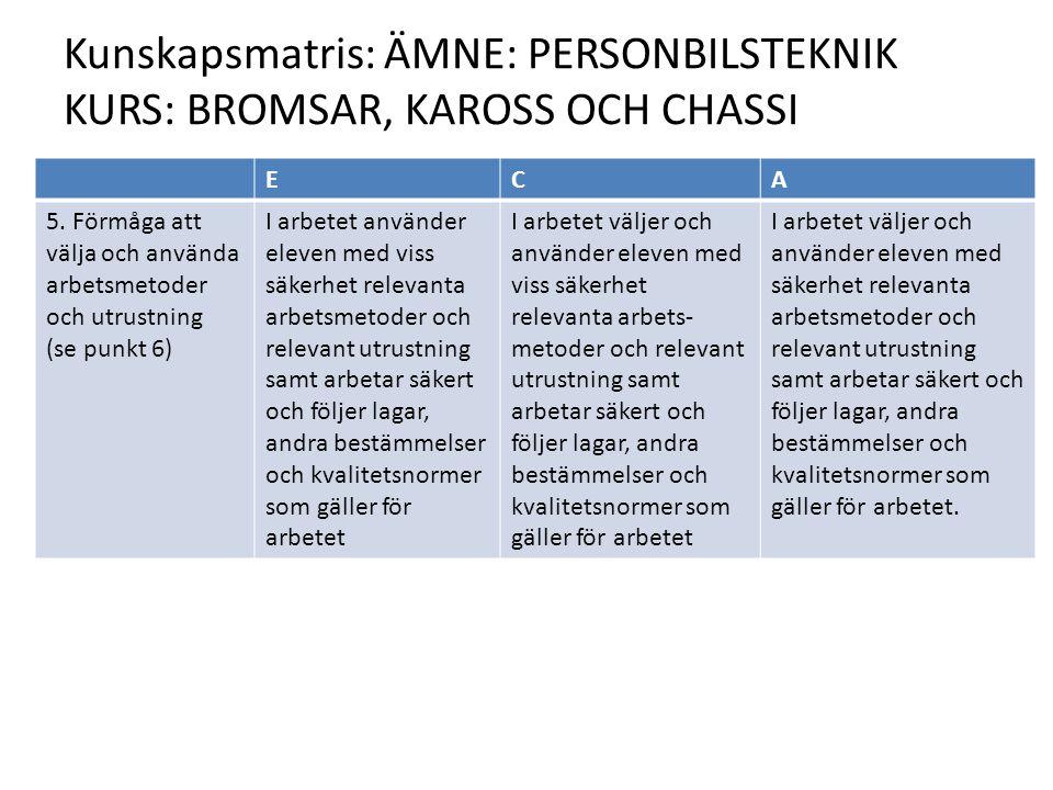 Kunskapsmatris: ÄMNE: PERSONBILSTEKNIK KURS: BROMSAR, KAROSS OCH CHASSI ECA 5.
