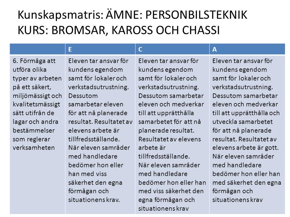 Kunskapsmatris: ÄMNE: PERSONBILSTEKNIK KURS: BROMSAR, KAROSS OCH CHASSI ECA 6.