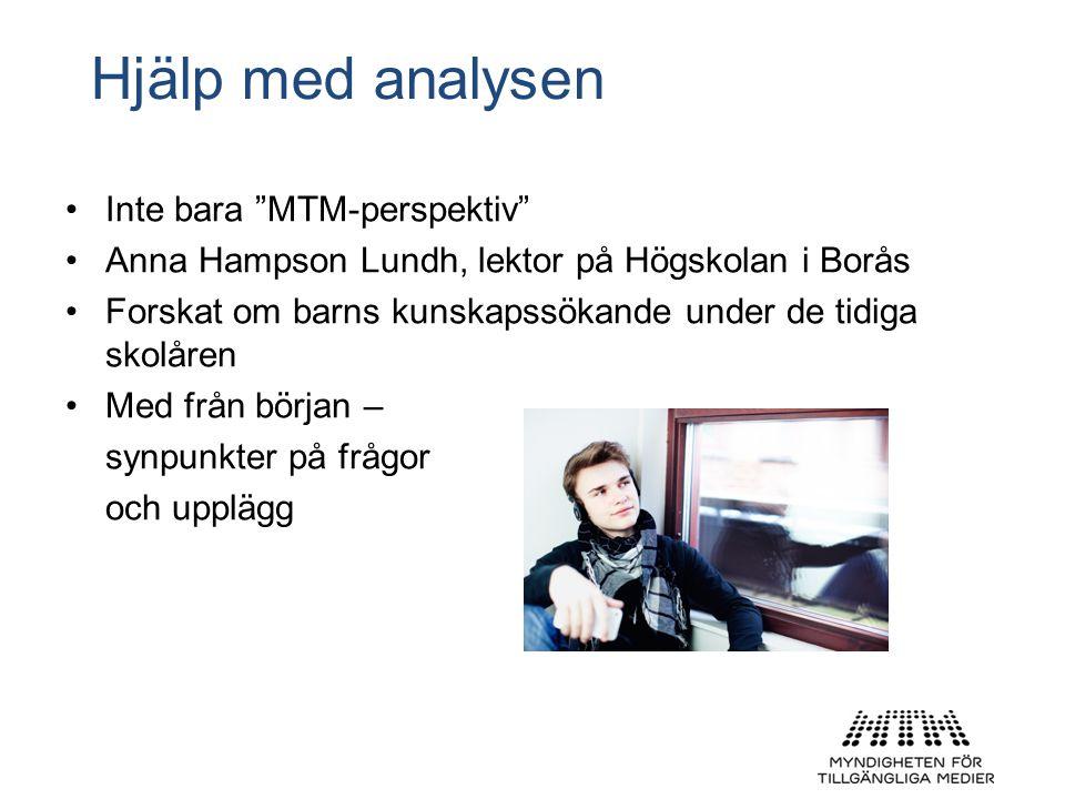 Hjälp med analysen •Inte bara MTM-perspektiv •Anna Hampson Lundh, lektor på Högskolan i Borås •Forskat om barns kunskapssökande under de tidiga skolåren •Med från början – synpunkter på frågor och upplägg