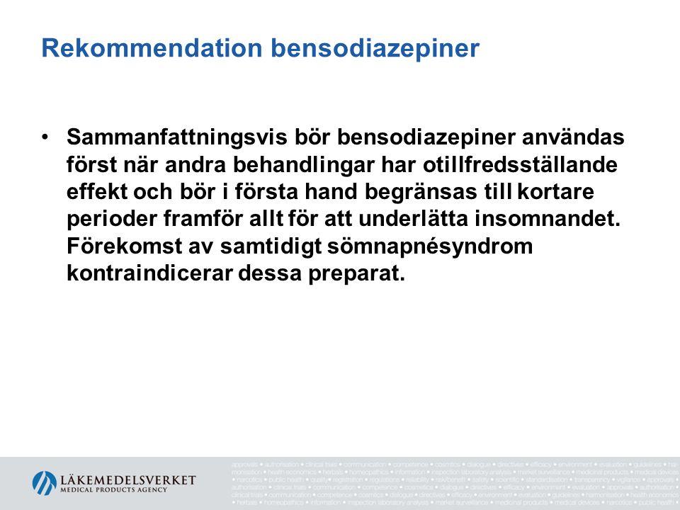 Rekommendation bensodiazepiner •Sammanfattningsvis bör bensodiazepiner användas först när andra behandlingar har otillfredsställande effekt och bör i