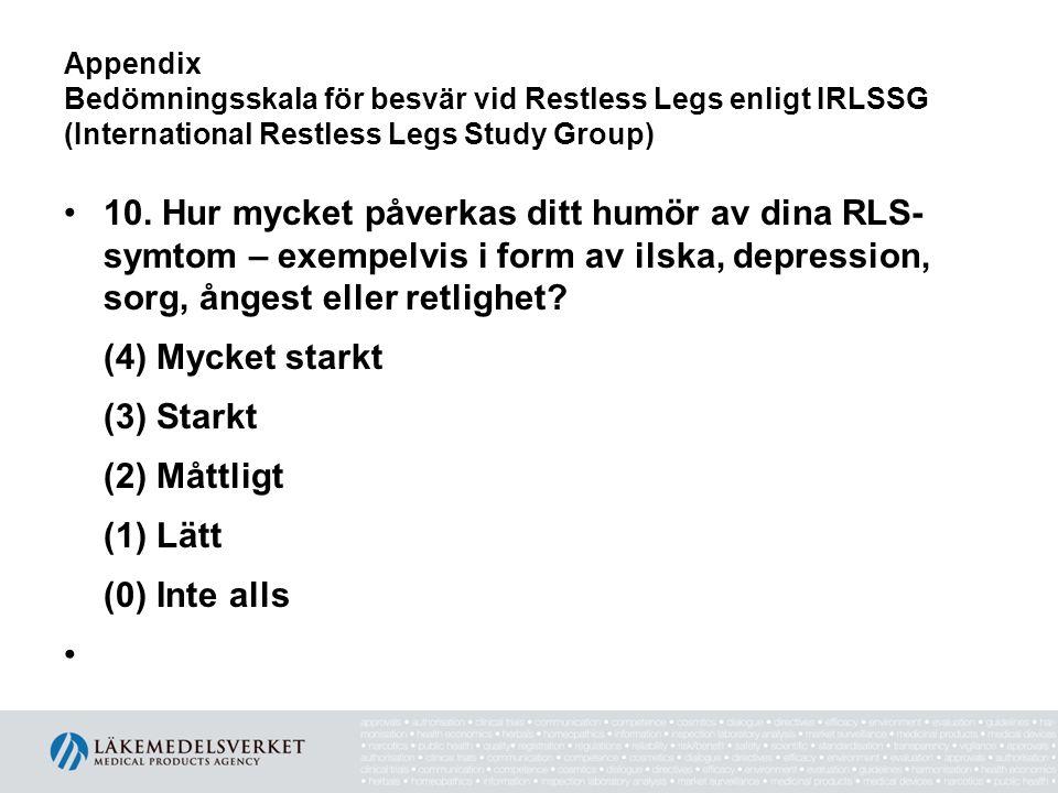 Appendix Bedömningsskala för besvär vid Restless Legs enligt IRLSSG (International Restless Legs Study Group) •10. Hur mycket påverkas ditt humör av d