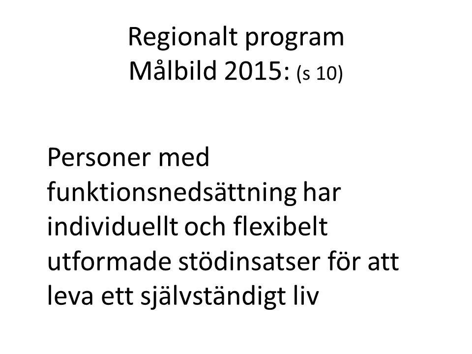 Regionalt program Målbild 2015: (s 10) Personer med funktionsnedsättning har individuellt och flexibelt utformade stödinsatser för att leva ett självs
