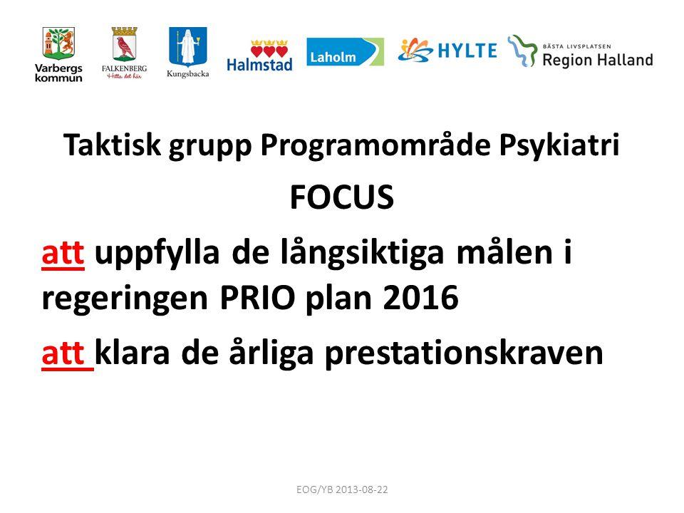 Taktisk grupp Programområde Psykiatri FOCUS att uppfylla de långsiktiga målen i regeringen PRIO plan 2016 att klara de årliga prestationskraven EOG/YB