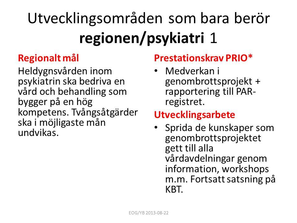 Utvecklingsområden som bara berör regionen/psykiatri 1 Regionalt mål Heldygnsvården inom psykiatrin ska bedriva en vård och behandling som bygger på e