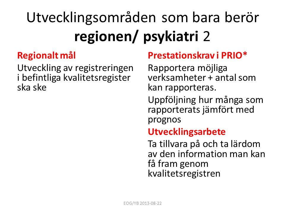 Utvecklingsområden som bara berör regionen/ psykiatri 2 Regionalt mål Utveckling av registreringen i befintliga kvalitetsregister ska ske Prestationsk