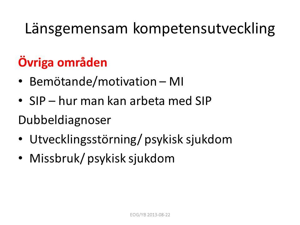 Länsgemensam kompetensutveckling Övriga områden • Bemötande/motivation – MI • SIP – hur man kan arbeta med SIP Dubbeldiagnoser • Utvecklingsstörning/