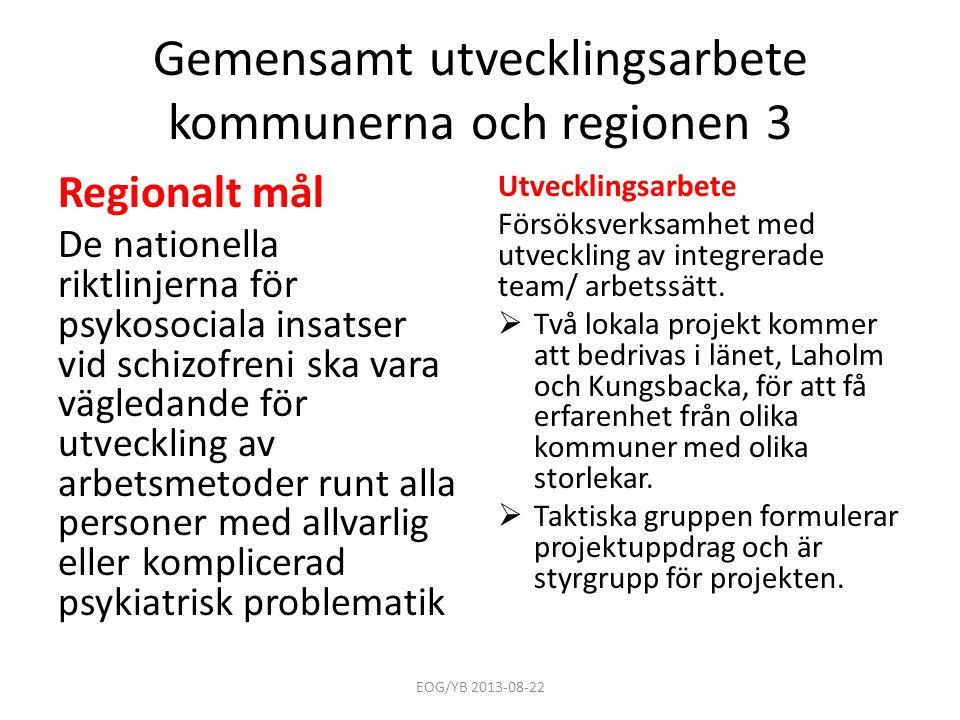 Gemensamt utvecklingsarbete kommunerna och regionen 3 Regionalt mål De nationella riktlinjerna för psykosociala insatser vid schizofreni ska vara vägl