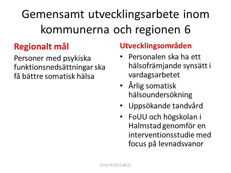 Gemensamt utvecklingsarbete inom kommunerna och regionen 6 Regionalt mål Personer med psykiska funktionsnedsättningar ska få bättre somatisk hälsa Utv