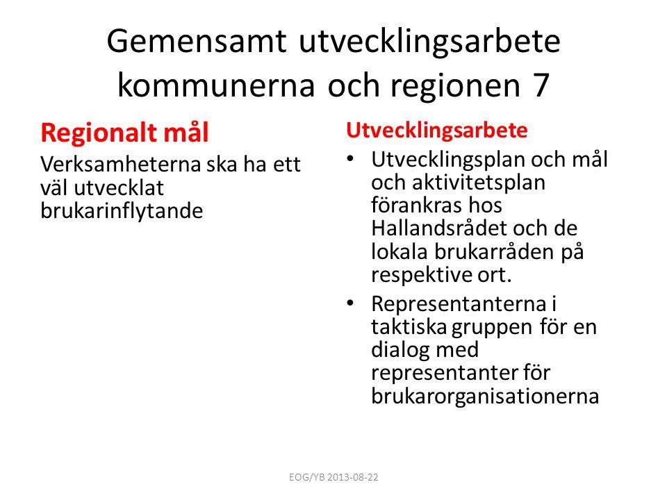 Gemensamt utvecklingsarbete kommunerna och regionen 7 Regionalt mål Verksamheterna ska ha ett väl utvecklat brukarinflytande Utvecklingsarbete • Utvec