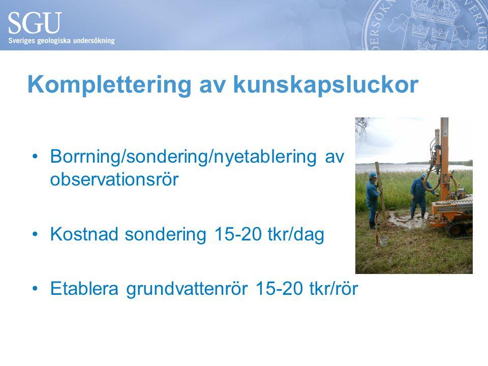 Komplettering av kunskapsluckor •Borrning/sondering/nyetablering av observationsrör •Kostnad sondering 15-20 tkr/dag •Etablera grundvattenrör 15-20 tk