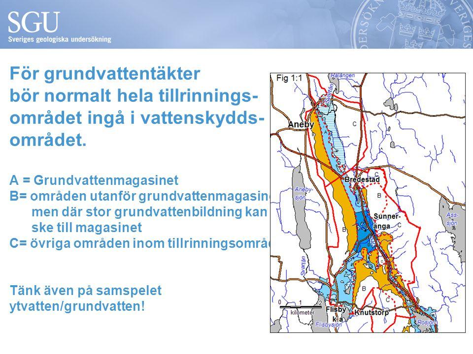 För grundvattentäkter bör normalt hela tillrinnings- området ingå i vattenskydds- området. A = Grundvattenmagasinet B= områden utanför grundvattenmaga