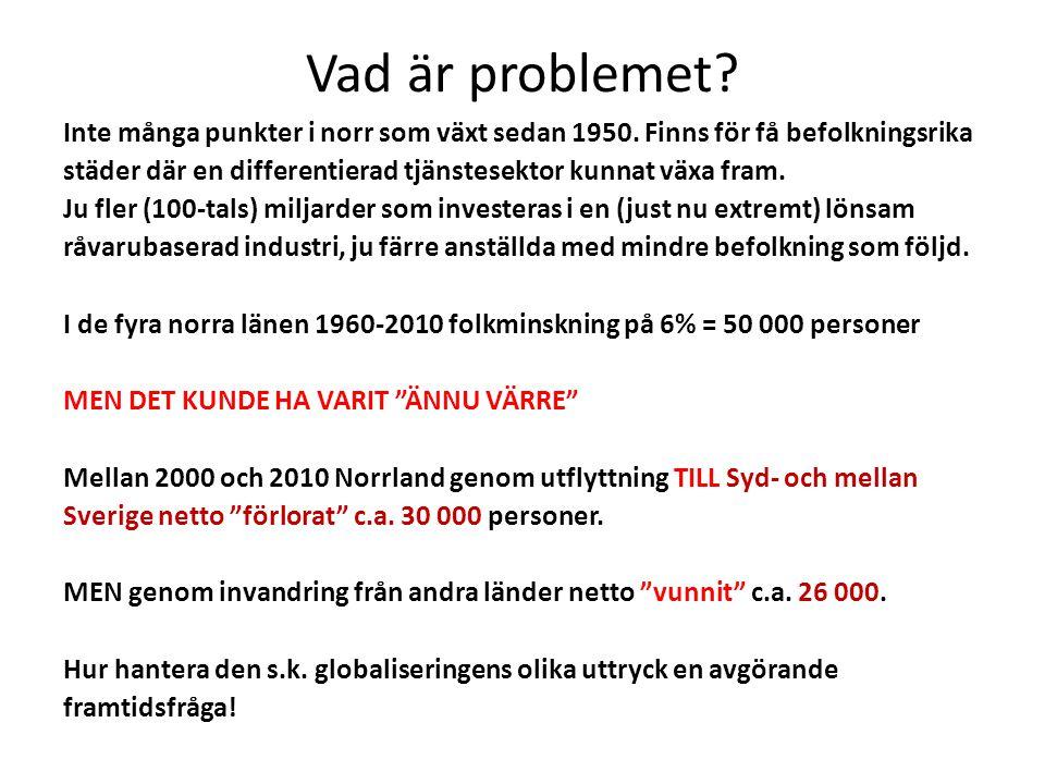 Vad är problemet? Inte många punkter i norr som växt sedan 1950. Finns för få befolkningsrika städer där en differentierad tjänstesektor kunnat växa f