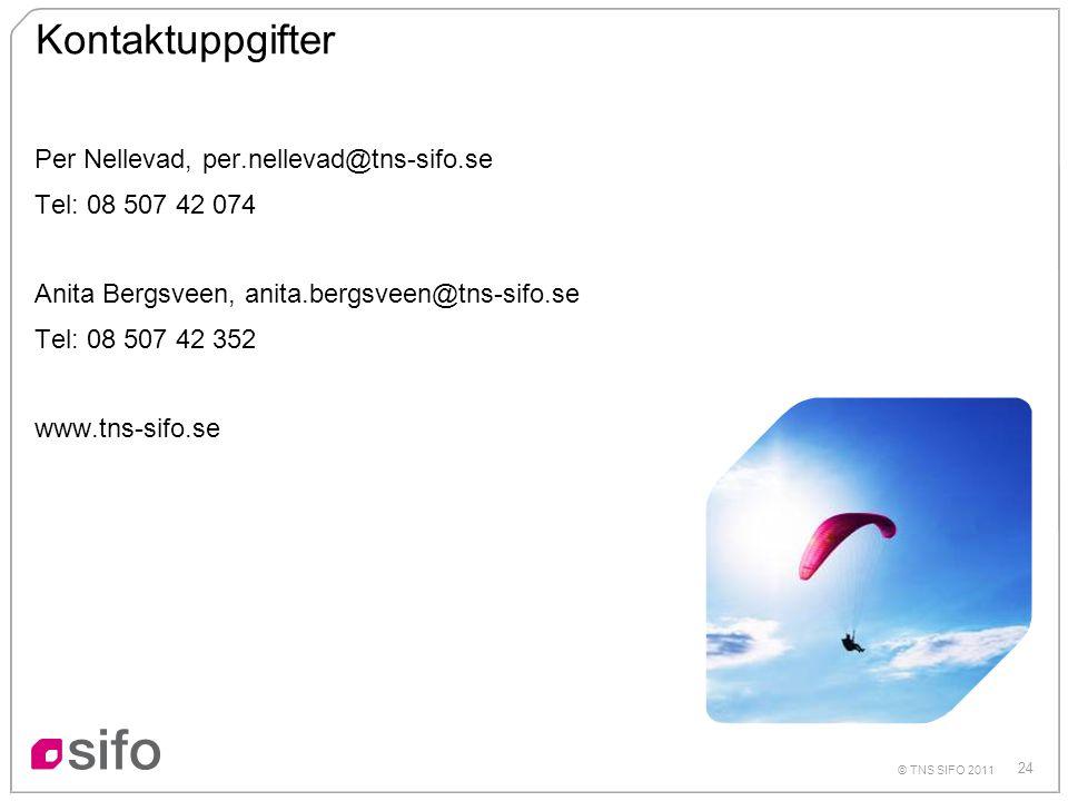 24 © TNS SIFO 2011 Kontaktuppgifter Per Nellevad, per.nellevad@tns-sifo.se Tel: 08 507 42 074 Anita Bergsveen, anita.bergsveen@tns-sifo.se Tel: 08 507