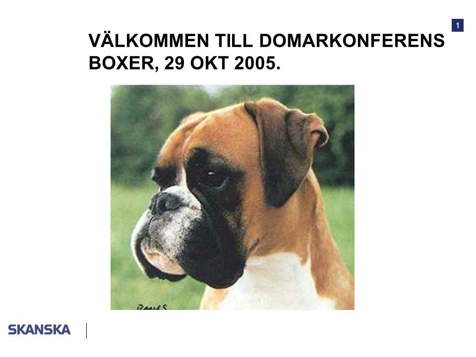 1 VÄLKOMMEN TILL DOMARKONFERENS BOXER, 29 OKT 2005.