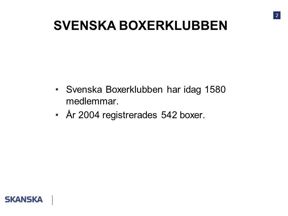 2 SVENSKA BOXERKLUBBEN •Svenska Boxerklubben har idag 1580 medlemmar. •År 2004 registrerades 542 boxer.
