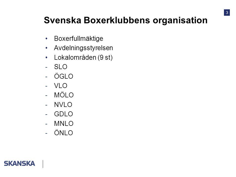 3 Svenska Boxerklubbens organisation •Boxerfullmäktige •Avdelningsstyrelsen •Lokalområden (9 st) -SLO -ÖGLO -VLO -MÖLO -NVLO -GDLO -MNLO -ÖNLO