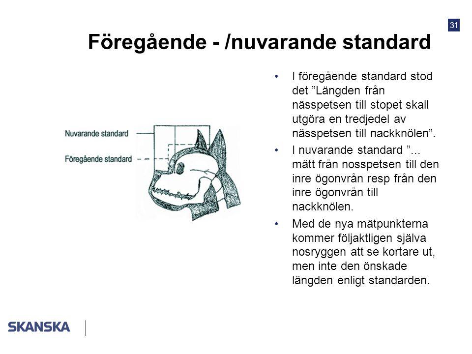 """31 Föregående - /nuvarande standard •I föregående standard stod det """"Längden från nässpetsen till stopet skall utgöra en tredjedel av nässpetsen till"""