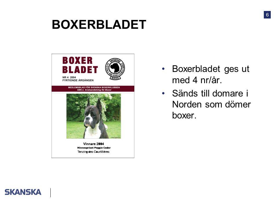 6 BOXERBLADET •Boxerbladet ges ut med 4 nr/år. •Sänds till domare i Norden som dömer boxer.
