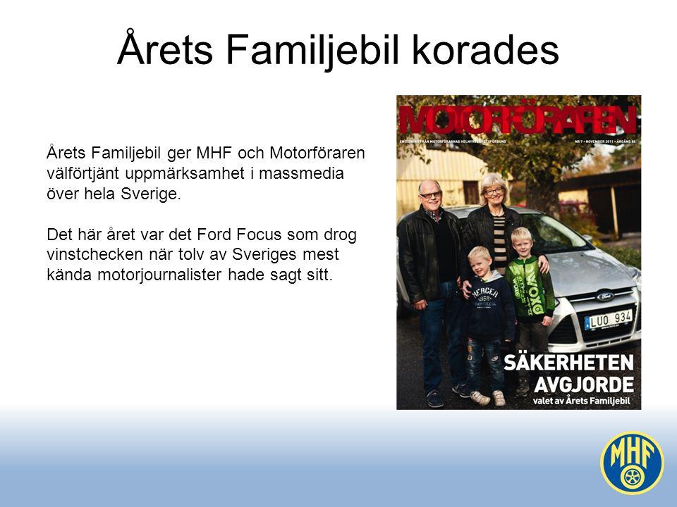 Årets Familjebil korades Årets Familjebil ger MHF och Motorföraren välförtjänt uppmärksamhet i massmedia över hela Sverige.