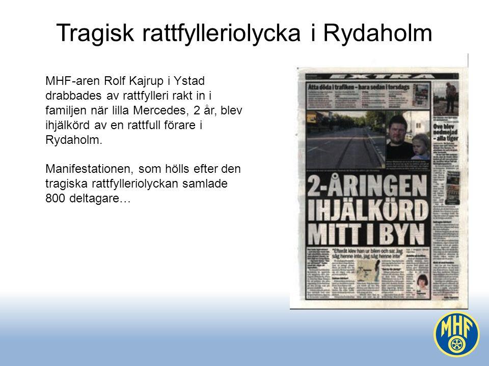 Tragisk rattfylleriolycka i Rydaholm MHF-aren Rolf Kajrup i Ystad drabbades av rattfylleri rakt in i familjen när lilla Mercedes, 2 år, blev ihjälkörd av en rattfull förare i Rydaholm.