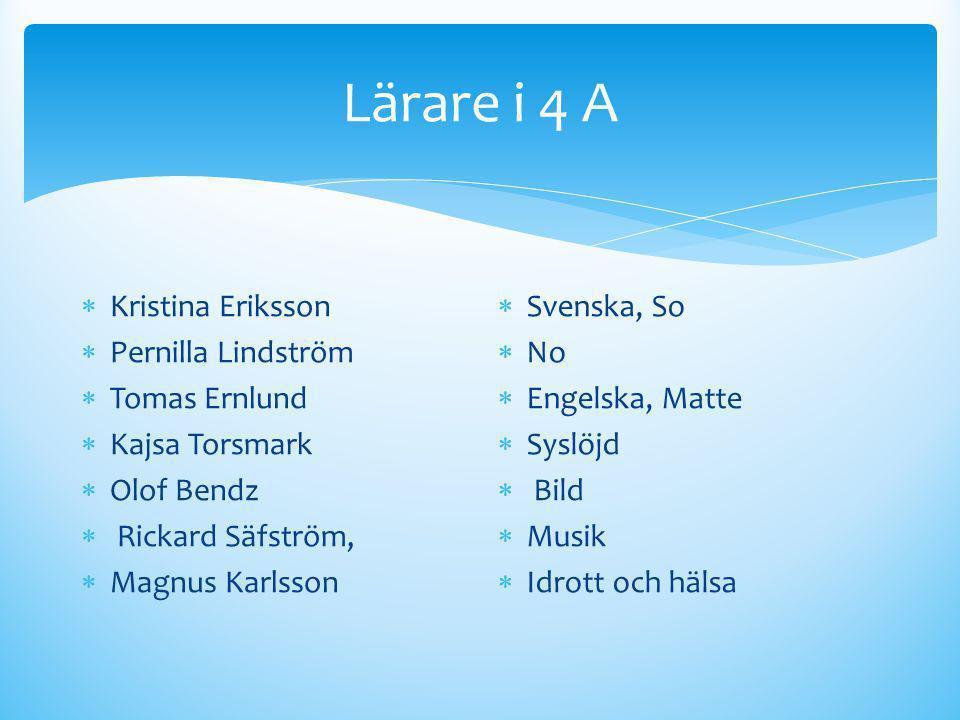 Lärare i 4 A  Kristina Eriksson  Pernilla Lindström  Tomas Ernlund  Kajsa Torsmark  Olof Bendz  Rickard Säfström,  Magnus Karlsson  Svenska, S