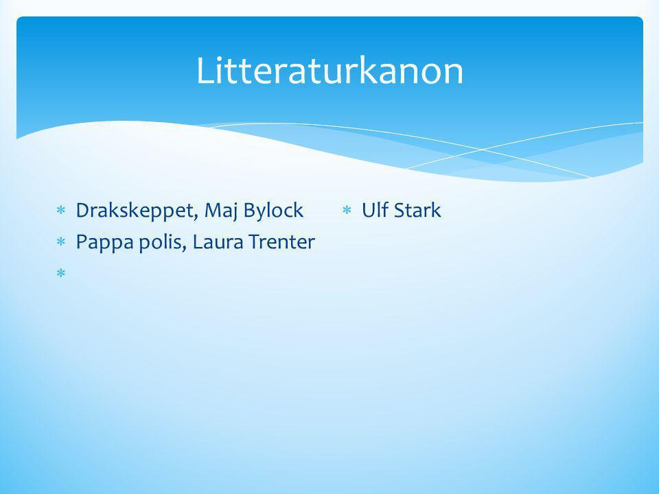 Litteraturkanon  Drakskeppet, Maj Bylock  Pappa polis, Laura Trenter   Ulf Stark