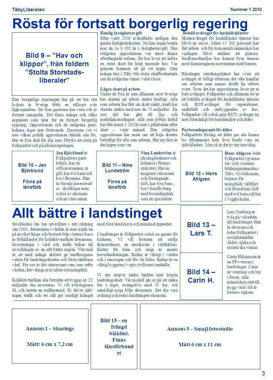 TäbyLiberalen Nummer 1 2010 3 Bild 11 – Nina Lundström Finns på länsförb Bild 12 – Hans Ahlgren Bild 10 – Jan Björklund Finns på länsförb Allt bättre