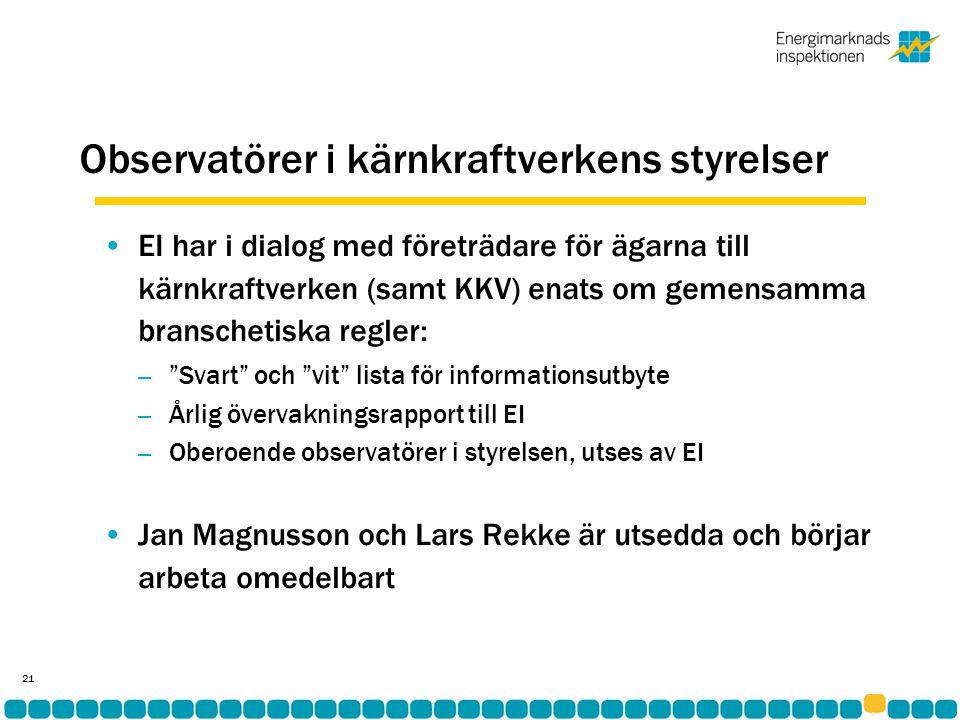 Observatörer i kärnkraftverkens styrelser •EI har i dialog med företrädare för ägarna till kärnkraftverken (samt KKV) enats om gemensamma branschetiska regler: – Svart och vit lista för informationsutbyte – Årlig övervakningsrapport till EI – Oberoende observatörer i styrelsen, utses av EI •Jan Magnusson och Lars Rekke är utsedda och börjar arbeta omedelbart 21