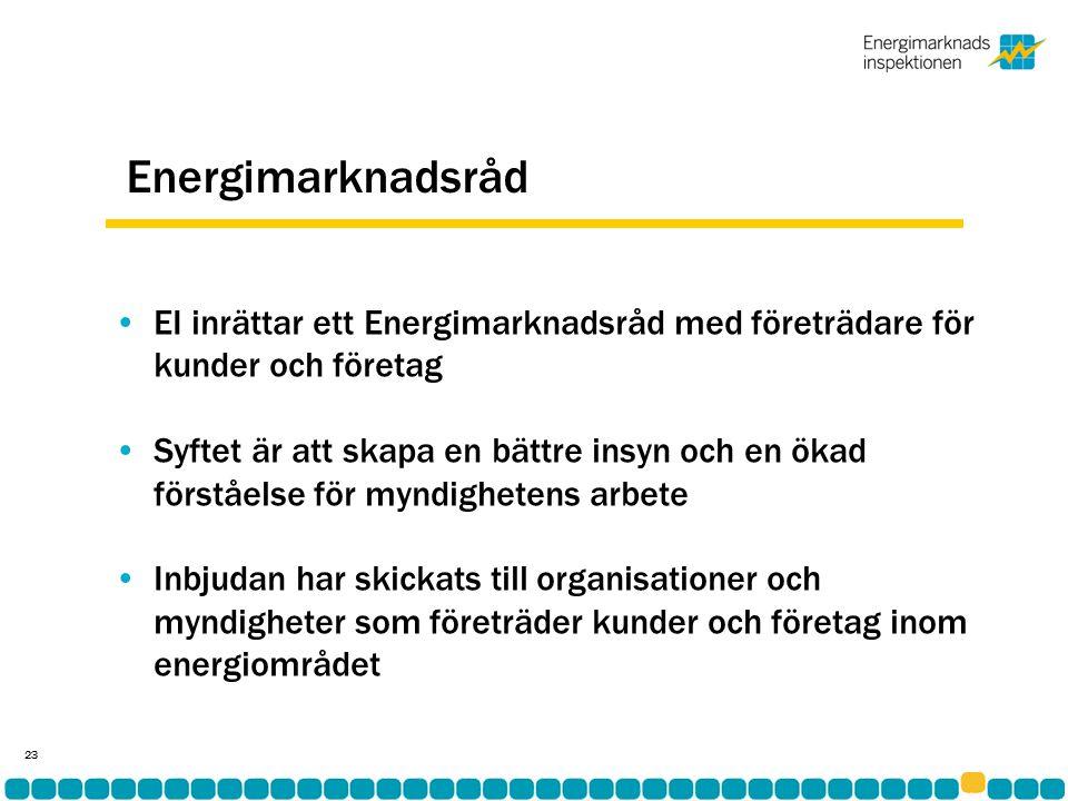 Energimarknadsråd •EI inrättar ett Energimarknadsråd med företrädare för kunder och företag •Syftet är att skapa en bättre insyn och en ökad förståelse för myndighetens arbete •Inbjudan har skickats till organisationer och myndigheter som företräder kunder och företag inom energiområdet 23