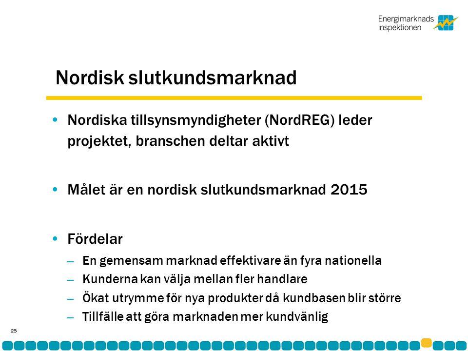 Nordisk slutkundsmarknad •Nordiska tillsynsmyndigheter (NordREG) leder projektet, branschen deltar aktivt •Målet är en nordisk slutkundsmarknad 2015 •Fördelar – En gemensam marknad effektivare än fyra nationella – Kunderna kan välja mellan fler handlare – Ökat utrymme för nya produkter då kundbasen blir större – Tillfälle att göra marknaden mer kundvänlig 25