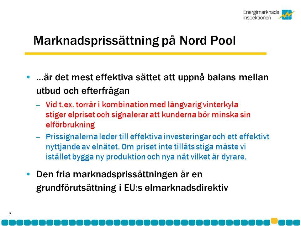 Marknadsprissättning på Nord Pool •…är det mest effektiva sättet att uppnå balans mellan utbud och efterfrågan – Vid t.ex.