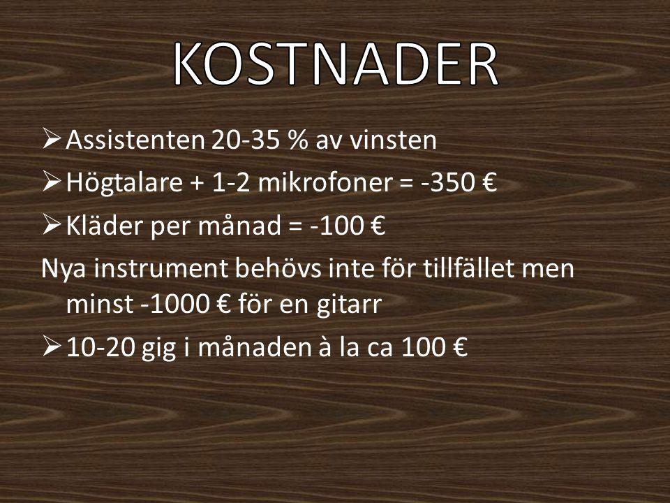  Assistenten 20-35 % av vinsten  Högtalare + 1-2 mikrofoner = -350 €  Kläder per månad = -100 € Nya instrument behövs inte för tillfället men minst