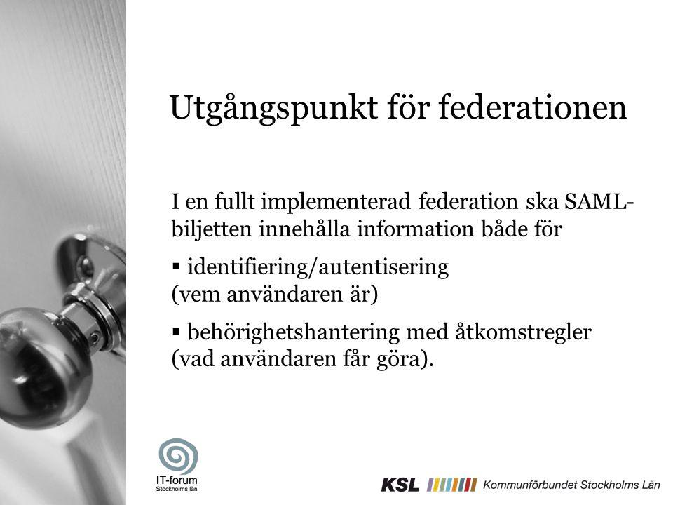 Utgångspunkt för federationen I en fullt implementerad federation ska SAML- biljetten innehålla information både för  identifiering/autentisering (ve